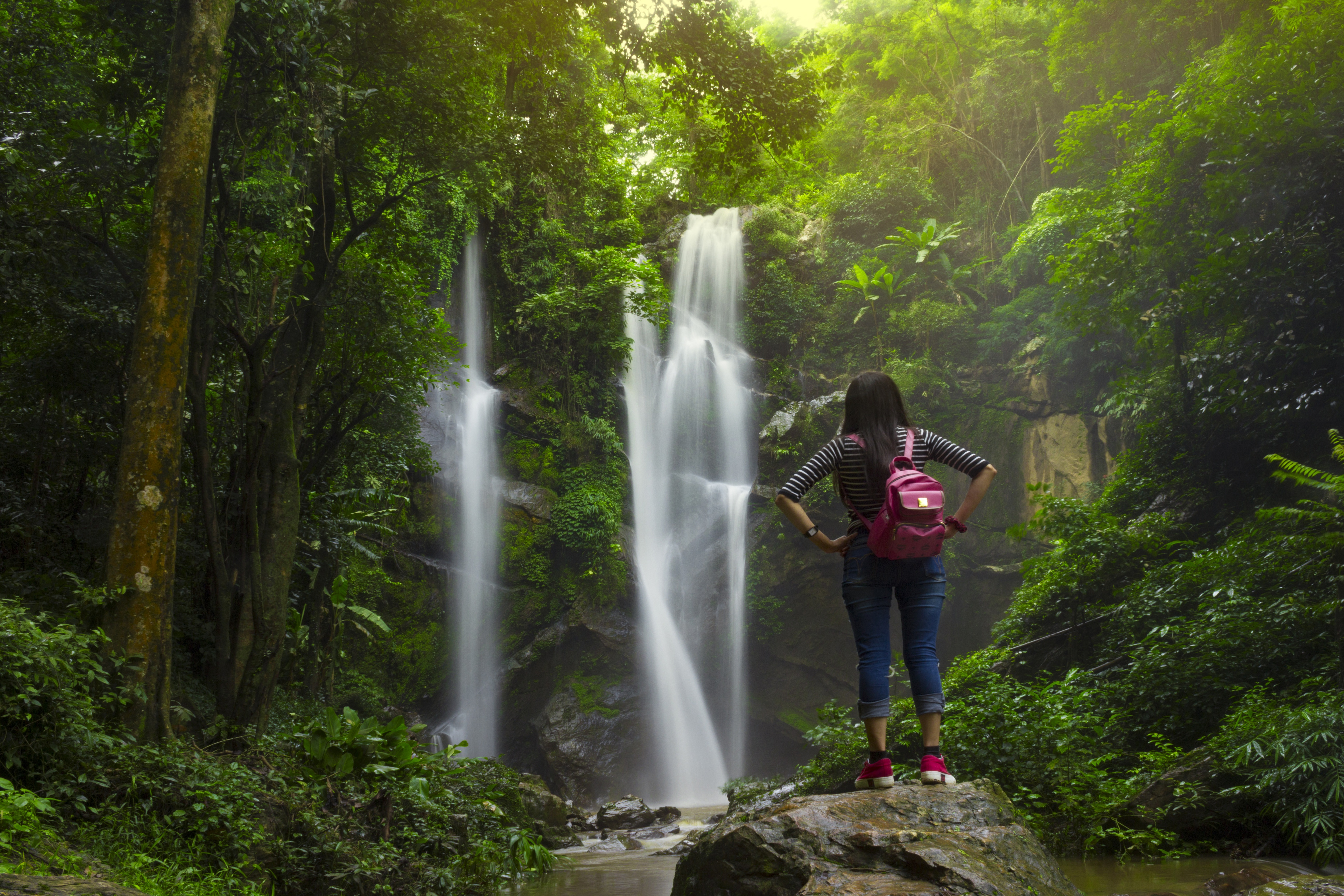 Woman_forest_waterfall