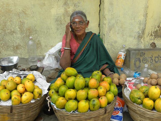 Fruit Seller Woman on Mobile-1
