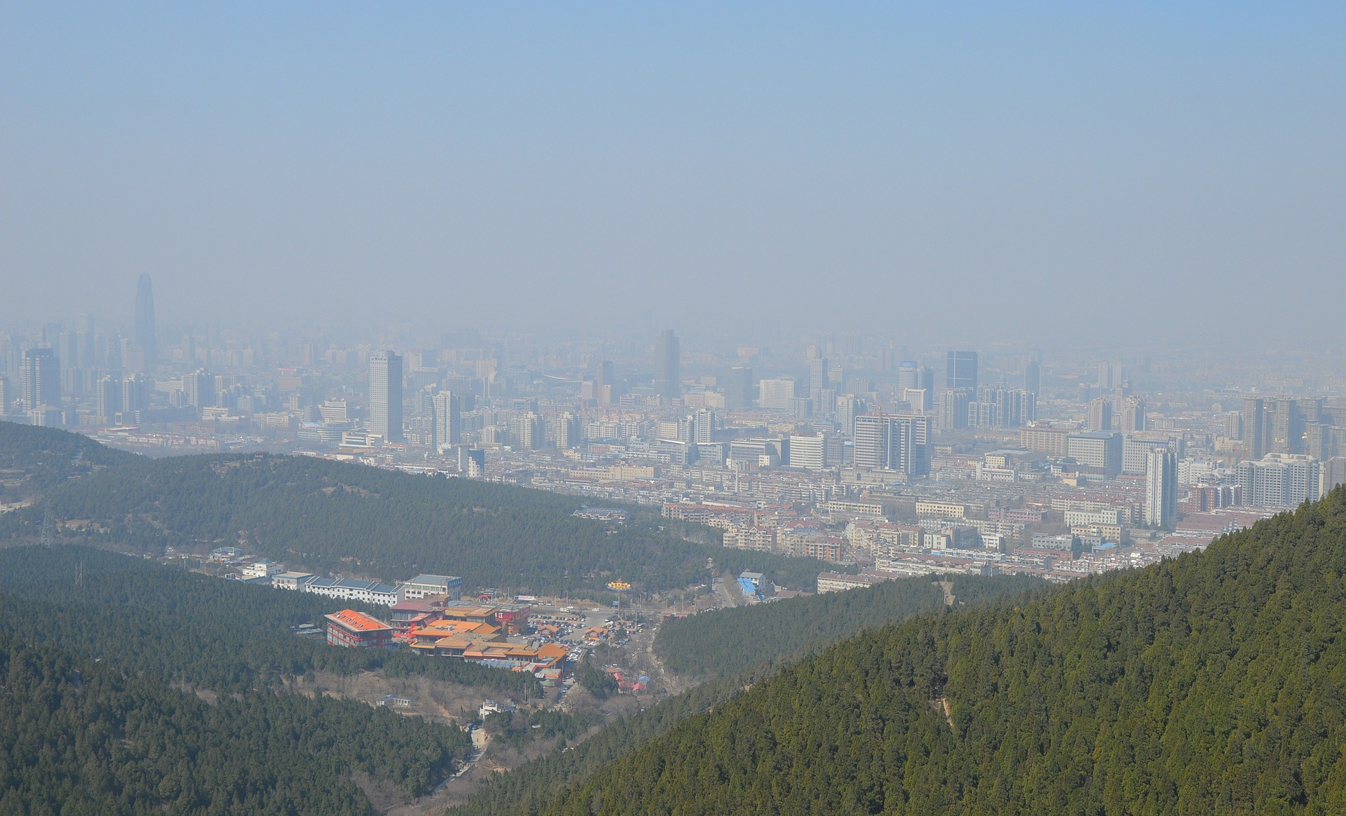 Urban smog in China.