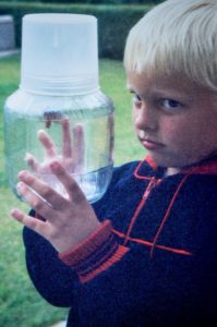 The early days: catching a tiger moth in his parent's garden